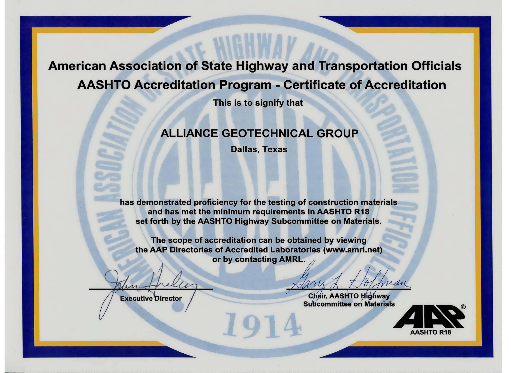 Certificate5g aashto certificate of accreditation yelopaper Images